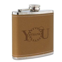 Leather/Stainless Award Flask