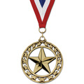 Star Award Medal w/ Red/White/Blue or Year Grosgrain Neck Ribbon