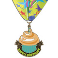 Stock Superstar Birthday Medal w/ Full Color Millennium Celebrate Neck Ribbon