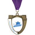 MS14 Mega Shield Award Medals w/ Grosgrain Neck Ribbon