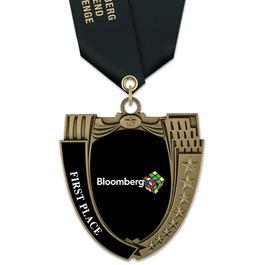 MS14 Mega Shield Award Medals w/ Satin Neck Ribbon