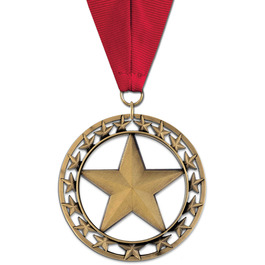 Rising Star Award Medal w/ Grosgrain Neck Ribbon