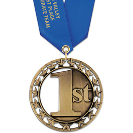 Rising Star Award Medal w/ Satin Neck Ribbon