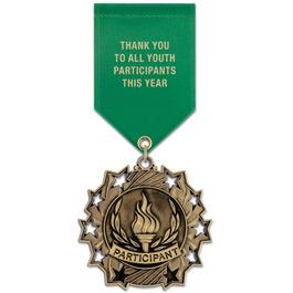 Ten Star Award Medal w/ Satin Drape Ribbon