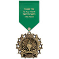 Ten Star Award Medal w/ Satin Drape Ribbon