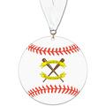 Baseball Shape Birchwood Award Medal w/ Grosgrain Neck Ribbon