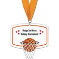 Basketball Hoop Shape Birchwood Award Medal w/ Grosgrain Neck Ribbon