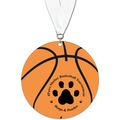 Basketball Shape Birchwood Award Medal w/ Grosgrain Neck Ribbon