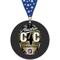 Circle Shape Birchwood Award Medal w/ Grosgrain Neck Ribbon