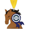 Horse Head Shape Birchwood Award Medal w/ Grosgrain Neck Ribbon