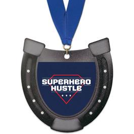 Horseshoe Shape Birchwood Award Medal w/ Grosgrain Neck Ribbon
