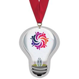 Birchwood Light Bulb Award Medal w/ Grosgrain Neck Ribbon
