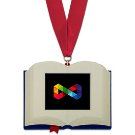Birchwood Open Book Award Medal w/ Grosgrain Neck Ribbon