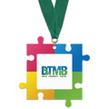 Birchwood Puzzle Pieces Award Medal w/ Grosgrain Neck Ribbon