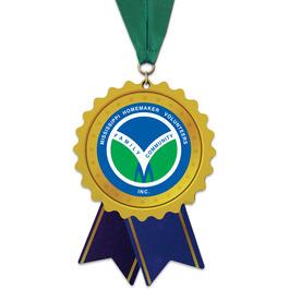 Birchwood Rosette Award Medal w/ Grosgrain Neck Ribbon