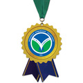 Rosette Shape Birchwood Award Medal w/ Grosgrain Neck Ribbon