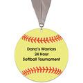 Softball Shape Birchwood Award Medal w/ Grosgrain Neck Ribbon