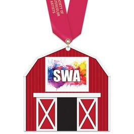 Barn Shape Birchwood Award Medal w/ Satin Neck Ribbon