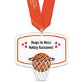 Basketball Hoop Shape Birchwood Award Medal w/ Satin Neck Ribbon