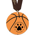 Basketball Shape Birchwood Award Medal w/ Satin Neck Ribbon