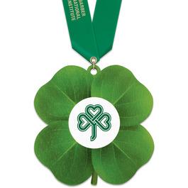 Clover Shape Birchwood Award Medal w/ Satin Neck Ribbon