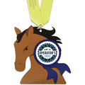 Horse Head Shape Birchwood Award Medal w/ Satin Neck Ribbon