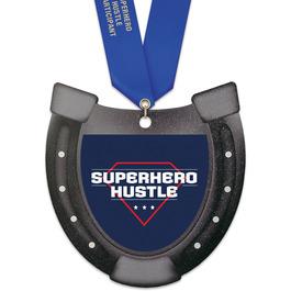Horseshoe Shape Birchwood Award Medal w/ Satin Neck Ribbon