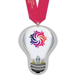 Birchwood Light Bulb Award Medal w/ Satin Neck Ribbon