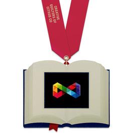 Birchwood Open Book Award Medal w/ Satin Neck Ribbon