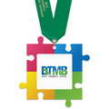 Birchwood Puzzle Pieces Award Medal w/ Satin Neck Ribbon