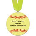 Softball Shape Birchwood Award Medal w/ Satin Neck Ribbon