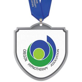 Birchwood Shield Award Medal w/ Satin Neck Ribbon