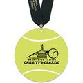 Tennis Ball Shape Birchwood Award Medal w/ Satin Neck Ribbon