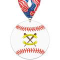 Baseball Shape Birchwood Award Medal w/ Millennium Neck Ribbon