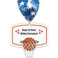 Basketball Hoop Shape Birchwood Award Medal w/ Millennium Neck Ribbon