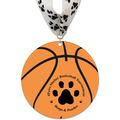 Basketball Shape Birchwood Award Medal w/ Millennium Neck Ribbon