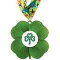 Clover Shape Birchwood Award Medal w/ Millennium Neck Ribbon