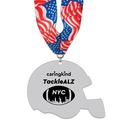 Helmet Shape Birchwood Award Medal w/ Millennium Neck Ribbon