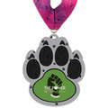 Paw Print Shape Birchwood Award Medal w/ Millennium Neck Ribbon