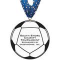 Soccer Ball Shape Birchwood Award Medal w/ Millennium Neck Ribbon