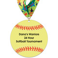Softball Shape Birchwood Award Medal w/ Millennium Neck Ribbon