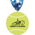Tennis Ball Shape Birchwood Award Medal w/ Millennium Neck Ribbon