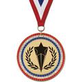Stock GEM Award Medal w/ Red/White/Blue or Year Grosgrain Neck Ribbon