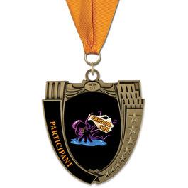 MS14 Mega Shield Award Medal w/ Grosgrain Neck Ribbon