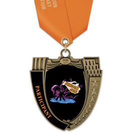 MS14 Mega Shield Award Medal w/ Satin Neck Ribbon