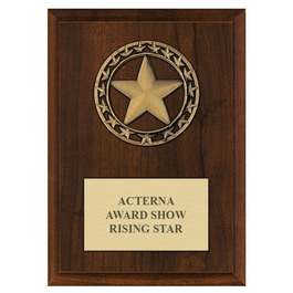 Rising Star Medal Award Plaque - Cherry Finish