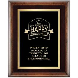 Award Plaque - Espresso w/ Double Gold Plate