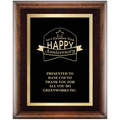 Award Plaque - Espresso w/ Double Gold Plate