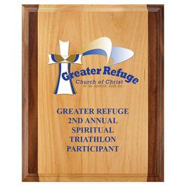 Full Color Award Plaque - Red Alder & Walnut