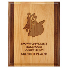 Award Plaque - Engraved Red Alder & Walnut
